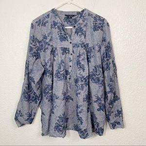 Lucky Brand Blue Cotton Tunic Blouse 2XL